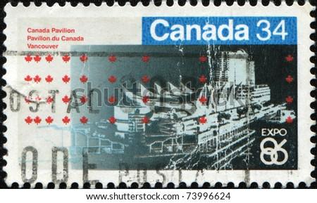 CANADA - CIRCA 1986: A stamp printed in Canada shows Expo 86, Canada Pavilion, Vancouver, circa 1986