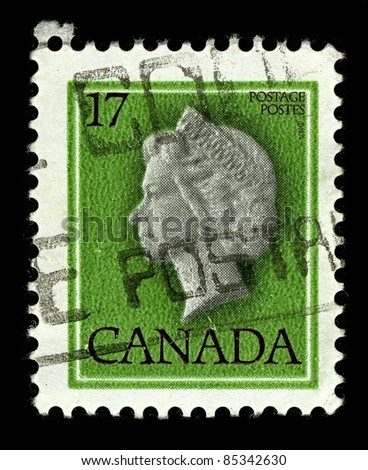 CANADA-CIRCA 1979:A stamp printed in CANADA shows image of Elizabeth II (Elizabeth Alexandra Mary, born 21 April 1926) is the constitutional monarch of United Kingdom, circa 1979.