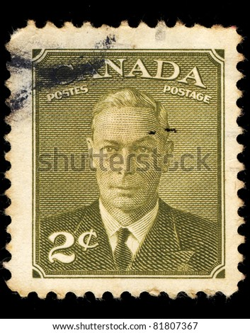 CANADA - CIRCA 1949: A stamp printed in Canada shows King George VI, circa 1949
