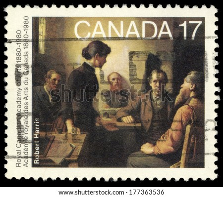 CANADA - CIRCA 1980: A stamp printed in Canada shows Meeting of the School Trustees, by Robert Harris, circa 1980