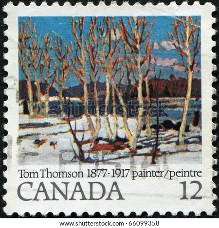 CANADA - CIRCA 1977: A stamp printed in Canada shows paint by Tom Thomson, circa 1977