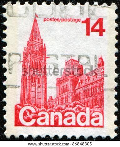 CANADA - CIRCA 1977: A stamp printed in Canada shows Parliament Buildings, circa 1977