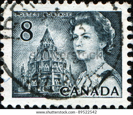 CANADA - CIRCA 1972: A stamp printed in Canada shows Queen Elizabeth II and Library of Parliament, circa 1972