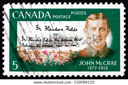 CANADA - CIRCA 1968: a stamp printed in the Canada shows Lieutenant Colonel John McCrae, Author of In Flanders Fields, circa 1968