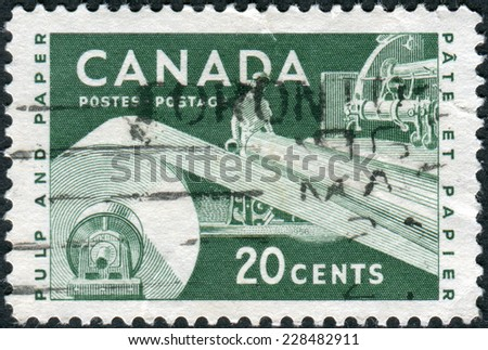 CANADA - CIRCA 1956: Postage stamp printed in Canada, dedicated to Paper Industry, shows the Pulp and Paper, circa 1956