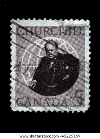 CANADA  - CIRCA 1960s: A stamp printed in Canada shows image of former British Prime Minister Sir Winston Churchill, circa 1960s