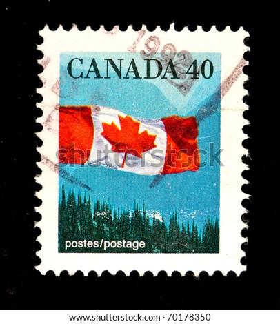 CANADA - CIRCA 1992: stamp printed by Canada, shows Canadian flag, circa 1992