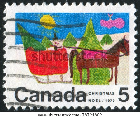 CANADA - CIRCA 1970: stamp printed by Canada, shows Christmas: Designs by Canadian School Children, Horse-drawn Sleigh, circa 1970
