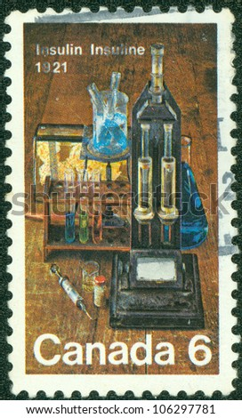 CANADA - CIRCA 1971: stamp printed by Canada, shows Laboratory Equipment Used for Insulin Discovery, circa 1971
