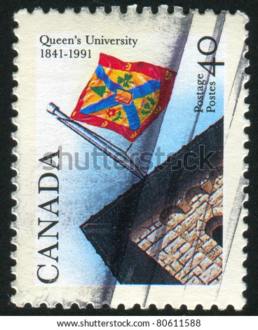 CANADA - CIRCA 1991: stamp printed by Canada, shows Queenâ??s University, Kingston, Ont., Sesqui, circa 1991