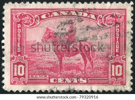 CANADA - CIRCA 1935: stamp printed by Canada, shows Royal Canadian Mounted Police, circa 1935