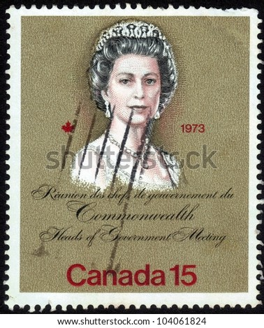 CANADA-CIRCA 1973: stamp printed in Canada, shows images of Queen Elizabeth, dedicated to Royal Visits in 1973 at the meeting Heads of Government, circa 1973