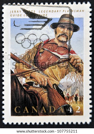 CANADA - CIRCA 1992: stamp printed in Canada shows Jerry Potts, guide, interpreter, circa 1992