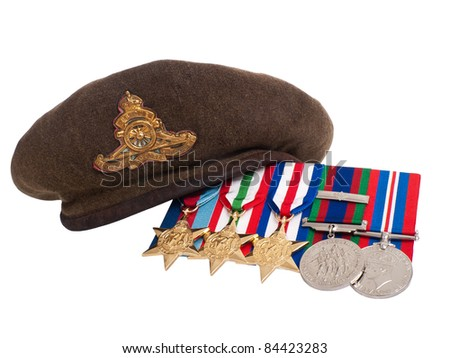 Canada -  Circa 1945: World War II soldier's beret and medals made in Canada showing a ground troups beret and medals over white background, circa 1945