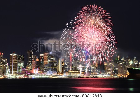 Canada Day celebration fireworks in Downtown Vancouver