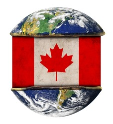 Canada earth globe flag. Elements of this image furnished by NASA.