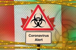 Canada flag and Covid-19 biohazard symbol with quarantine orange tape. Coronavirus or 2019-nCov virus concept