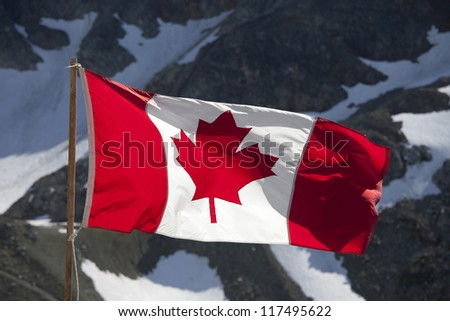 Canada Flag by the Rocky Mountains