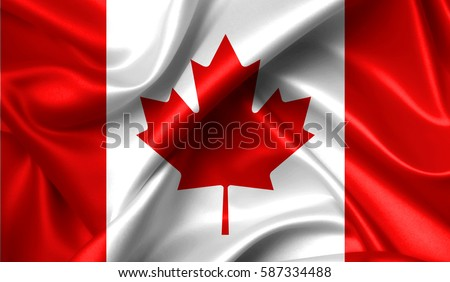 Canada flag in the old retro background effect, close up #587334488