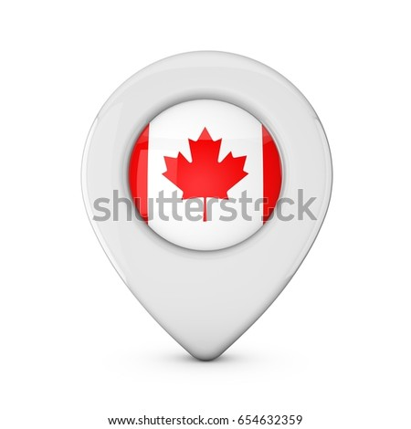 Canada flag location marker icon. 3D Rendering #654632359