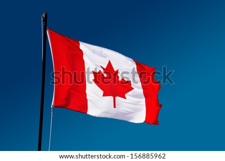 Canada flag on blue background