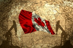 Canada flag on the background of the world map with oil derricks and money