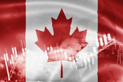 Canada flag, stock market, exchange economy and Trade, oil production, container ship in export and import business and logistics.
