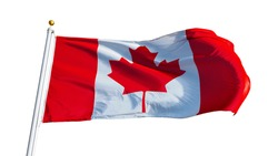 Canada flag waving on white background, close up, isolated with clipping path mask alpha channel transparency
