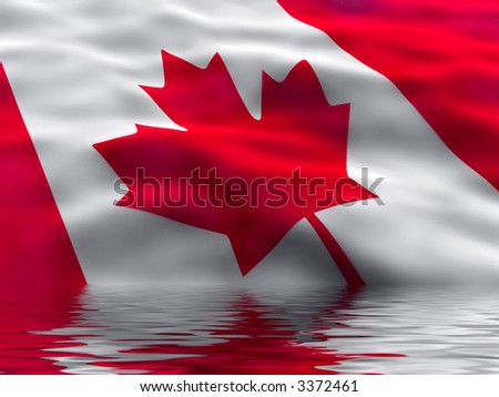 Canada flag with water reflection