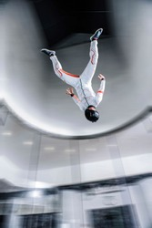 Canada. flying people in wind tunnel . indoor skydiving
