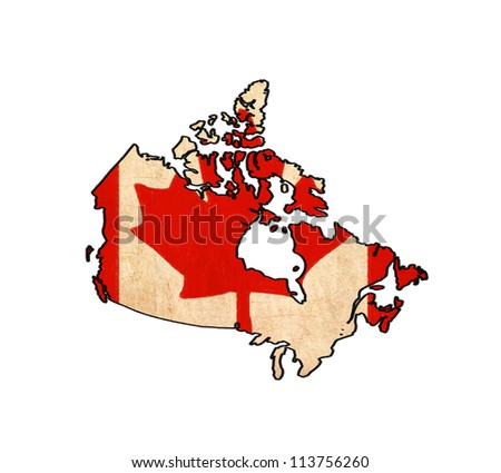 Canada map on Canada flag drawing ,grunge and retro flag series