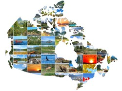 Canada Map ( shape,silhouette) create of Canadian Landscapes photo on a white background. National Parks and Landscapes.  Travel and Tourism Concept
