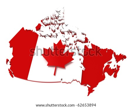 Canada, map with flag, with clipping path. 3d illustration, isolated on white