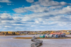 Canada, New Brunswick, Northumberland Strait, Bouctouche. Le Pays de la Sagouine, reconstructed waterfront Acadian historical village.