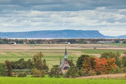 Canada, Nova Scotia, Annapolis Valley. Grand-Pre National Historic Site, site of the deportation of Canada's early French-Acadians by the English. Elevated view towards Cape Blomidon.