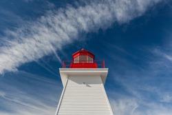 Canada, Nova Scotia, Cabot Trail. Neils Harbour, Cape Breton Highlands National Park, Neils Harbour Lighthouse.
