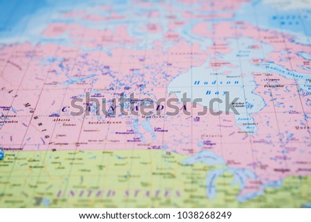Canada on the map
