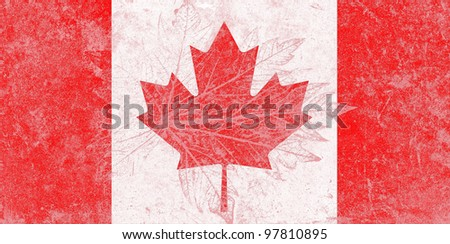 Canada state flag on grunge pattern of leaf