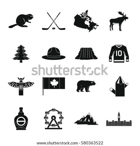 Canada travel icons set. Simple illustration of 16 Canada travel  icons for web
