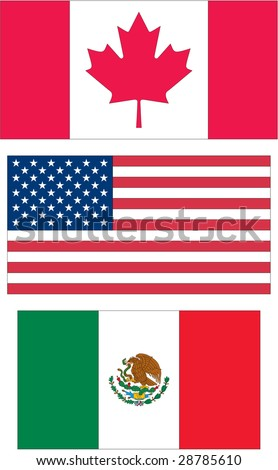 Canada, United States of America (USA) and Mexico Flags. These three countries make up the continent of North America as well as the North American Free Trade Agreement (NAFTA) region.