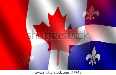 Canadian and Quebec flag blended together
