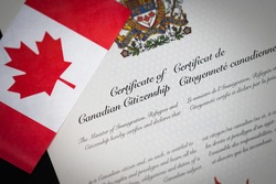 Canadian Citizenship Certificate with Canadian Flag