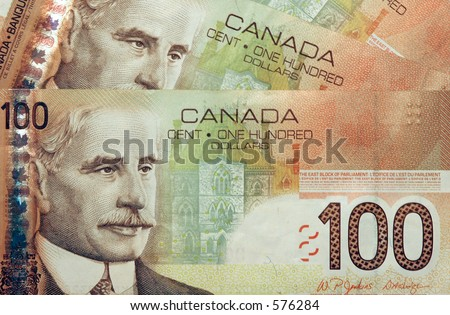Canadian Currency Money 100 Dollar Bills Fanned Stock Photo 576284 ...