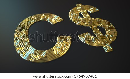 Canadian dollar sign made with gold wire, 3d rendering Foto stock ©