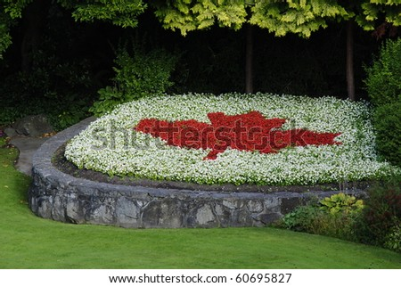 Canadian Flag Formed by Flowers