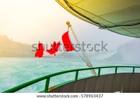 canadian flag on a boat at...