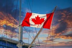 Canadian Flag on Acadia Oceanographic Ship in Halifax in Halifax, Nova Scotia, Canada