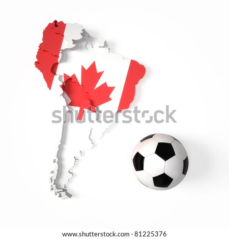 Canadian flag on South American map