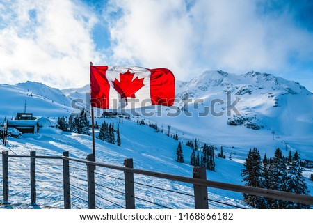 Canadian flag on top of whistler mountain #1468866182