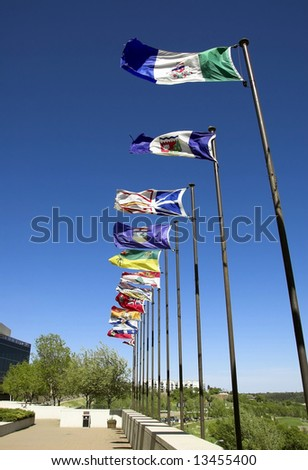 Canadian flags along the river valley
